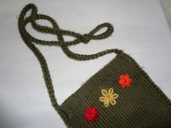 Small Knit Purse with Flower Detail
