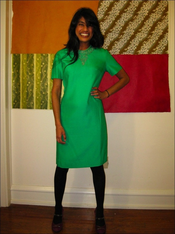 SALE 60s apple green JEWEL ENCRUSTED holiday party shift dress