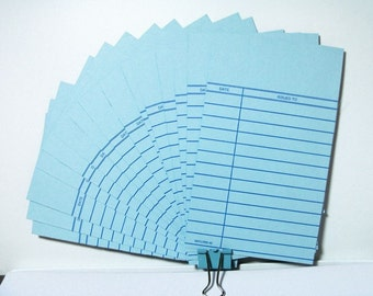 24 Library cards, Wedding Invitations, light blue, Library card invitation, Wedding, Blue