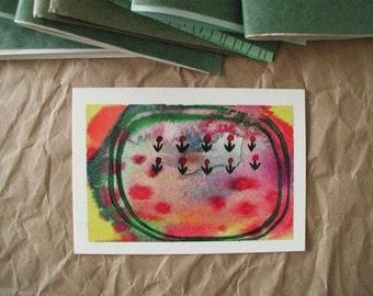 POSTCARD - Wildflowers, artwork by Rina Miriam Drescher snail mail that is also a fun coloful little contemporary fine art print