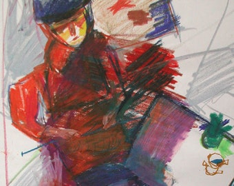 Tricia - Original Oil Pastel Painting On Paper from the series Party Girls by Rina Miriam Drescher