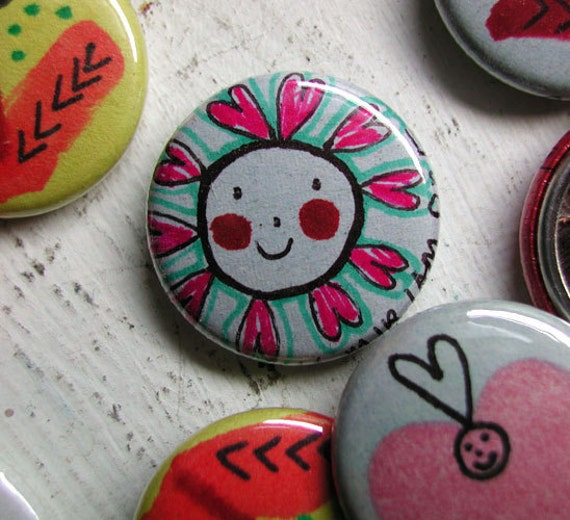 Pinback Button - Happy Little Person With Lots Of Love One-Of-A-Kind  (drawn by hand, not a print)
