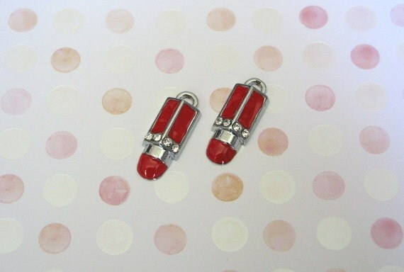 Sexy Red Lipstick with Clear Rhinestones Charms 2pcs