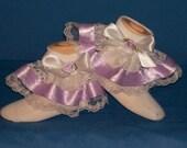 Boutique OOAK Fancy Feet Lavender Rose Ribbon and Lace Ruffle Socks