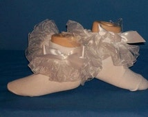 Boutique OOAK White Organza Pageant Double Ruffle Socks