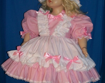 Ooak custom-made pink and white double ruffle dresses