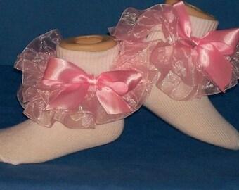 Boutique Custom Made Fancy Feet Double Ruffle Pageant Pink Organza Ruffle Socks