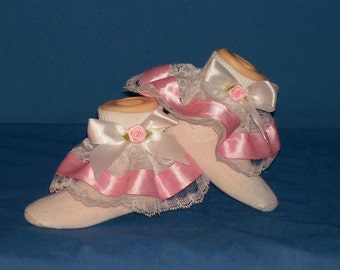 Boutique OOAK Pink Rose Ribbon and Lace Pageant Ruffle Socks