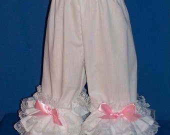 Custom Made OOAK Triple Ruffle Pantaloons Accented with Pink Satin Bows