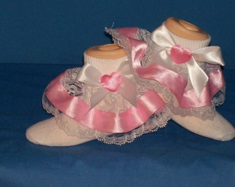 Boutique OOAK Custom Made Pink Satin Heart Ribbon and Lace Ruffle Pageant Socks