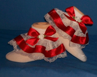 Boutique OOAK Custom Made Five Pair of Socks Your Choice of Colors Ruffled Socks