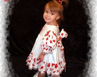 Boutique Madasyn Collection OOAK Valentine Heart Embroidered Be Mine Ruffle Dress