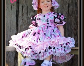 Stephanie Collection Boutique OOAK Triple Ruffle Butterfly Kisses Maxi Dress Set