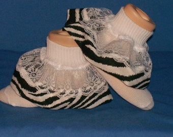 Boutique OOAK Custom Made Zebra Ruffle Socks