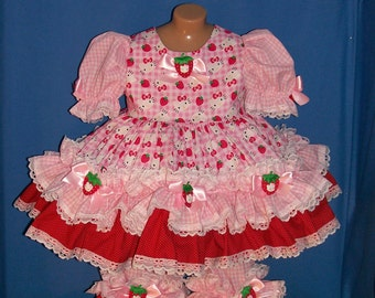 Boutique Custom Made OOAK Kitty Strawberry Gingham Double Ruffle Dress Set