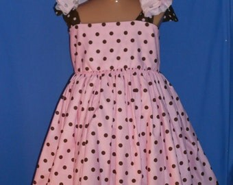 Boutique OOAK Custom Made Pink with Chocolate Dress Set
