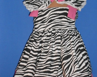 Boutique OOAK Custom Made Zebra and Hot Pink Dress Set