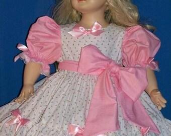 Custom-made pink rosebuds single ruffle dress