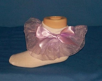 Boutique OOAK Lavender Organza Pageant Double Ruffle Socks