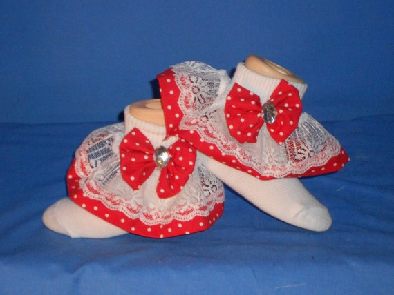 boutique custom made ooak fancy feet red with white dots lace. Black Bedroom Furniture Sets. Home Design Ideas