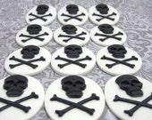 30x40mm Set of 24 Black Skull Cameo