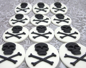 30x40mm Set of 24 Black Skull Cameo