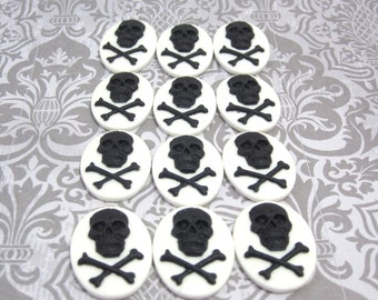 25x18mm Set Of 24 Black Skull Cameos