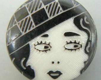 Black & White Flapper Face Button 20mm Plastic