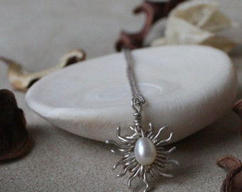 Handmade Real Pearl Necklace with Sterling Silver Wire Wrapped Sun Burst Pendant Modernist Abstract Chain