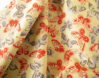 1 Yd. Yellow, Peach and Gray Butterfly Cotton Quilting Fabric Ooh La La by Kathy Hall