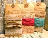 Set of 3 - French Inspired Trimming - Stamped Ribbon - Antiqued Seam Binding Ribbon - Antiqued Lace - Merci - xo, j&L (TRM)