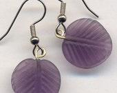 Matte Frosted Purple Leaf Earrings SUPER SALE