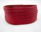 CLASSIC STYLE cut Leather Cuff Bracelet Red with silver snap /YT07-2