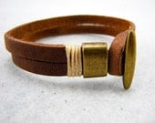 minimalism style Blank leather bracelet BROWN Short size /YT03