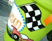 BeAcH bucket handpainted  personalized checkered flag race car  bucket and basket....design your own......