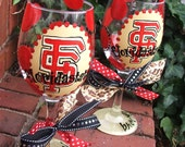 graduation, goooOOOOO TEAM glasses ......pick your school color and theme...Handpainted Monogram Glasses