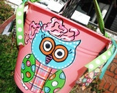 Whoooty owl, PrePPy  ribbon buckets .... design your own, hand painted, custom, personalized, easter basket, bucket....whimsical