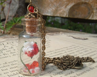 Painting The Roses Red Alice In Wonderland Glass Vial Pendant Etsy Original
