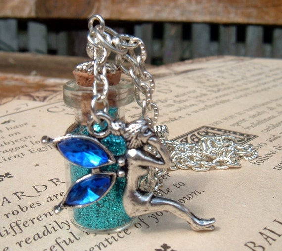 Pixie Dust Glass Vial Pendant Necklace with Blue Rhinestone Fairy Charm