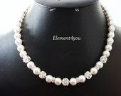 Bridal necklace Wedding jewellery Swarovski pearls Rhinetone ball Silver Maid of honor gift Bridal Ivory white pearl Single strand beaded