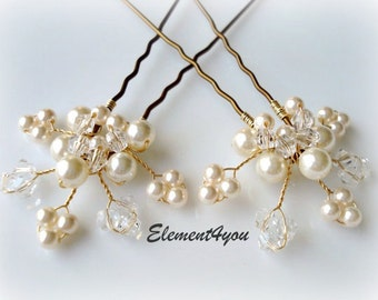 Bridal hair piece. Wedding set of 2 pins. Leaves Hair vines. Ivory gold. Pearl hair pins. Wedding accessories. White pearls. Crystal pins
