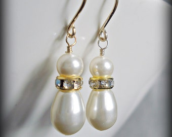Bridal pearl earrings Swarovski white or ivory pearl Dangle 14K gold filled Bridesmaid earrings Bridal party gift Maid of honor Jewelry