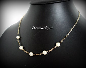 Bridal necklace 14k Gold Filled Beaded Swarovski white ivory pearls Delicate floating jewelry Bridesmaid gift Maid of honor Wedding