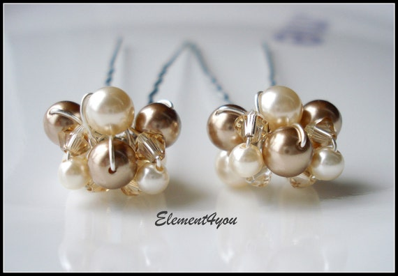 Pearl hair pins Bride Bridal hair piece Silver Gold Swarovski crystals clusters Ivory Champagne Brown Wedding accessories Formal up do