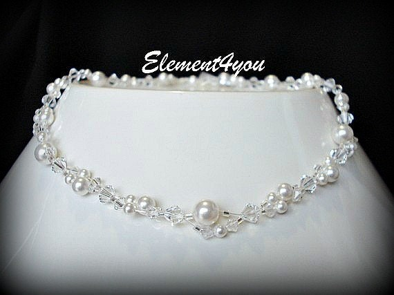Bridal necklace Wedding jewelry Swarovski pearls Crystals Intertwined White Ivory Two layers Bridesmaid gift Delicate Silver Floating