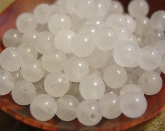 15 Inch strand 6mm Round Snow Quartz Beads