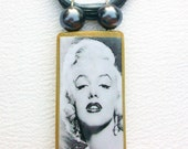 Marilyn Monroe, Bamboo Tile Necklace. Pearl Grey & Crystal Clear Beads