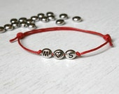 Triple Beads Heart Initial Bracelet (many colors to choose)