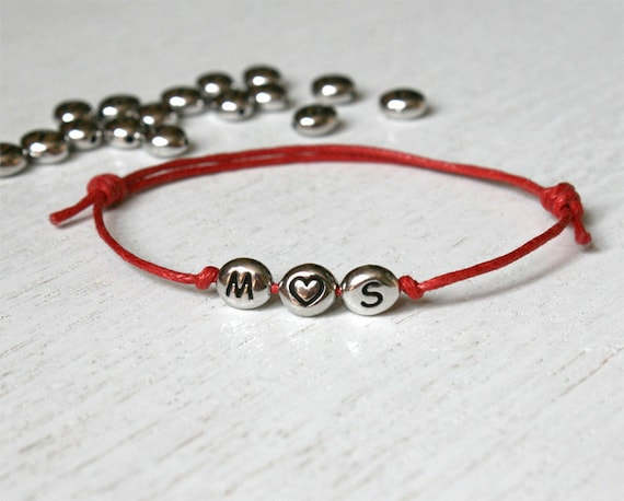 Triple Beads Heart Initial Bracelet, Initial Anklet, Personalized bracelet, Personalized anklet (many colors to choose)