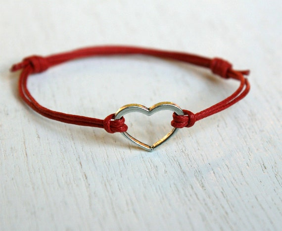Open Heart Bracelet on Cotton Thread / Heart Anklet (many colors to choose)